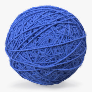 blue wool yarn ball 3D model