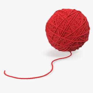3D wool yarn ball model