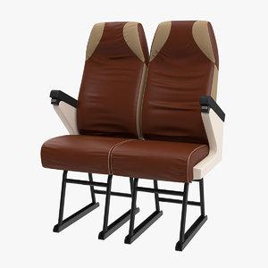 3D vintage bus passenger seats