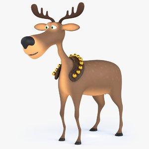 3D model rigged cartoon christmas deer
