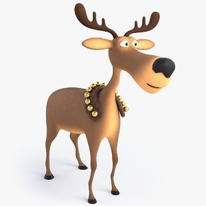 3D cartoon christmas deer model