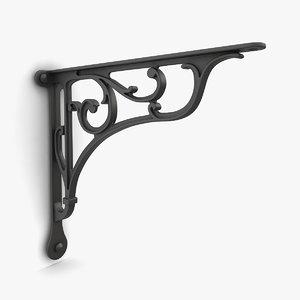 iron shelf bracket 03 3D model