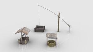medieval village wells 3D model