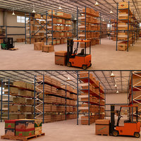 modular warehouse scenes 3D model