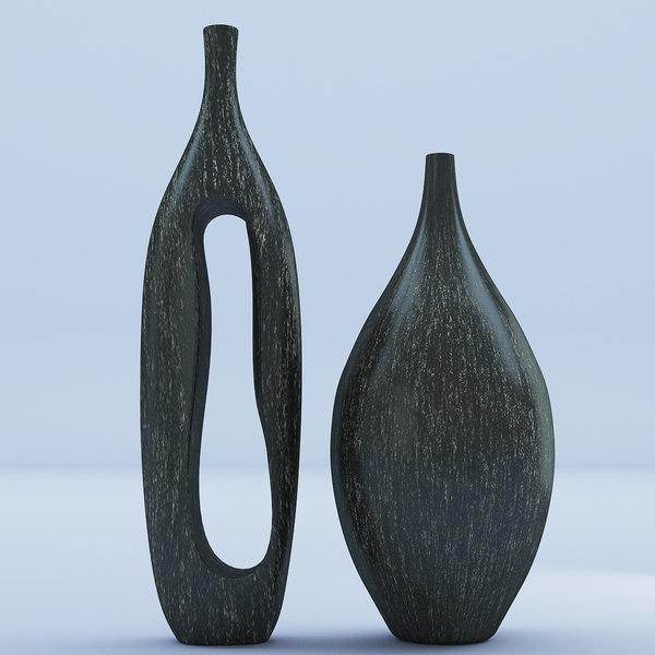 wooden vases 3D model
