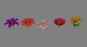 stylized flower set 3D