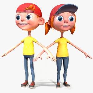 3D model boy girl cartoon