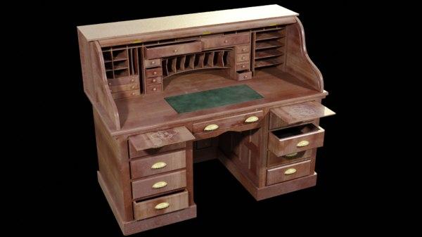 scroll desk 3D model
