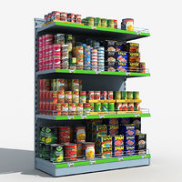 supermarket shelves canned food 3D model
