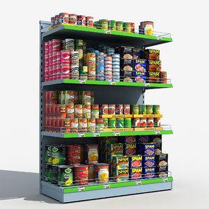 supermarket shelves canned food 3D model
