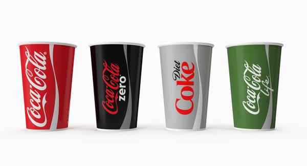 coca cola soda cups 3D model
