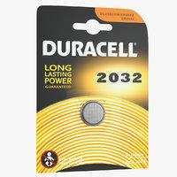 3D model duracell cr2032 battery pack