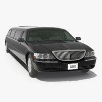 3D model limousine generic black car