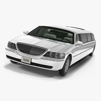 stretch limousine generic white 3D model