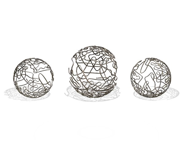 brass sphere decor set 3D