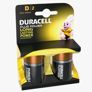 d duracell alkaline battery 3D model