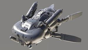 sci-fi drone fly 3D model