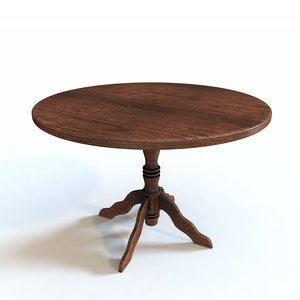 rustic wood table 3D