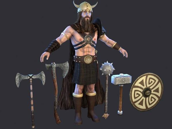 3D barbarian sword armor