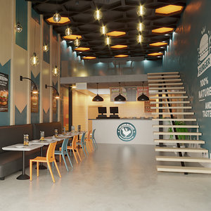 3D modern burger food interior design