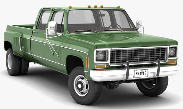 3D vintage 4wd dually pickup truck model