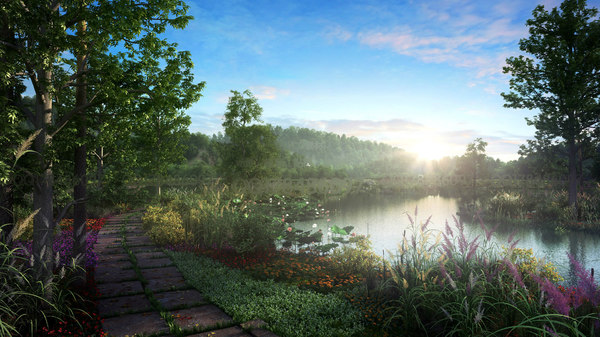 3D model realistic landscape scene animations