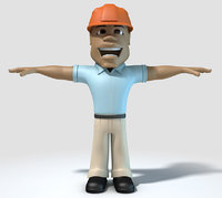 African Construction Man Character