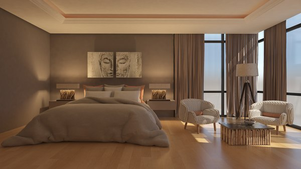 modern bedroom design 3D model
