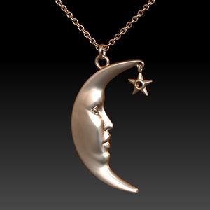 3D moon star pendant model