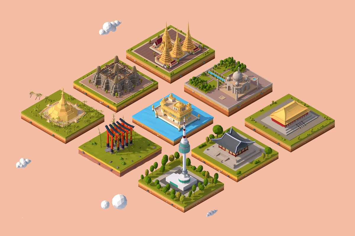 cartoon asia landmarks pack 3D