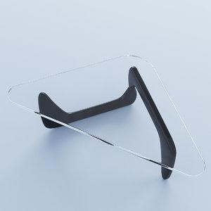 3D model triangular glass coffee table