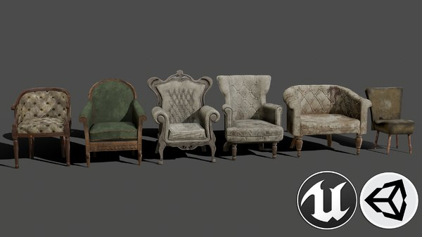 3D armchairs pbr model