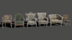 3D armchairs pbr model