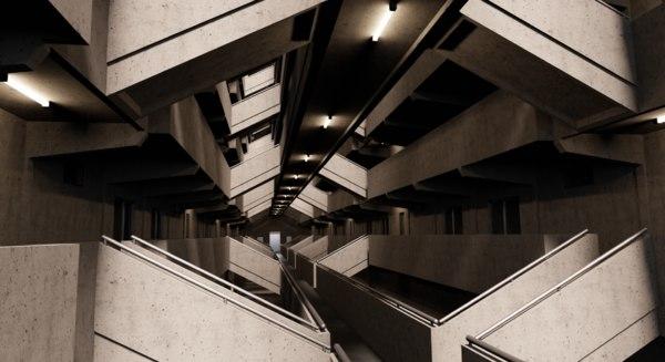 3D brutalist architecture building model