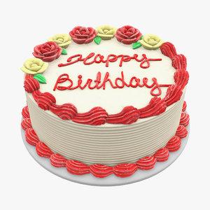 cake birthday white 3D model