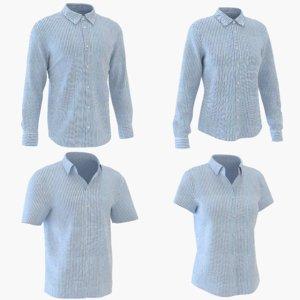 3D classic man woman shirt model