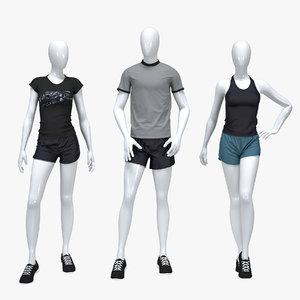 3D set sport suits tshirts model
