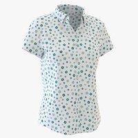 3D woman short sleeve shirt model