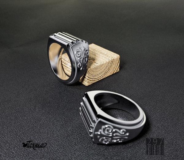 3D model men ring pattern gold silver
