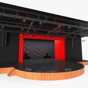 3D theater stage open curtain model
