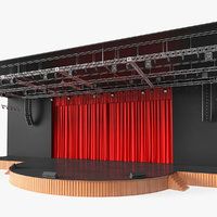 theater stage closed curtain 3D model