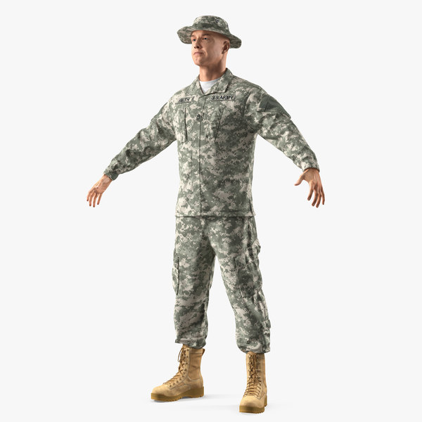 3D army soldier camo t-pose