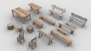 3D set 16 medieval wooden model