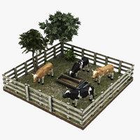 cow farm 3D model