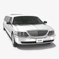 3D model white limousine generic simple