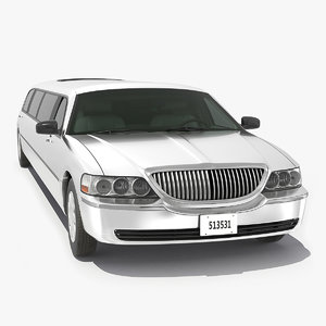 3D model white limousine generic simple