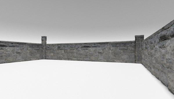 limestone wall 1 architectural 3D model