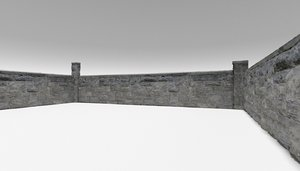 limestone wall 1 architectural 3D model