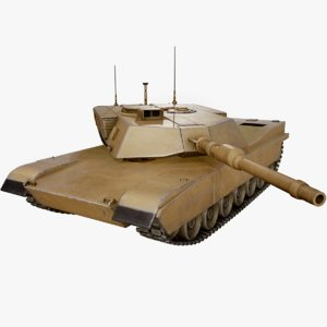 rigged m1a2 abrams tank 3D model