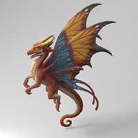 3D cartoon dragon rigged